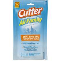 Cutter 95838, Case Pack of 1, Family Mosquito Wipes, 15-Count