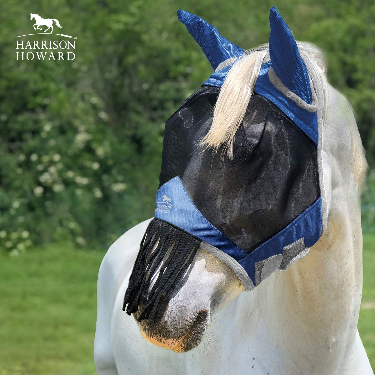 Harrison Howard CareMaster Horse Fly mask with Ears and Nose Fringe Fly Protector Defender Mask Aquamarine