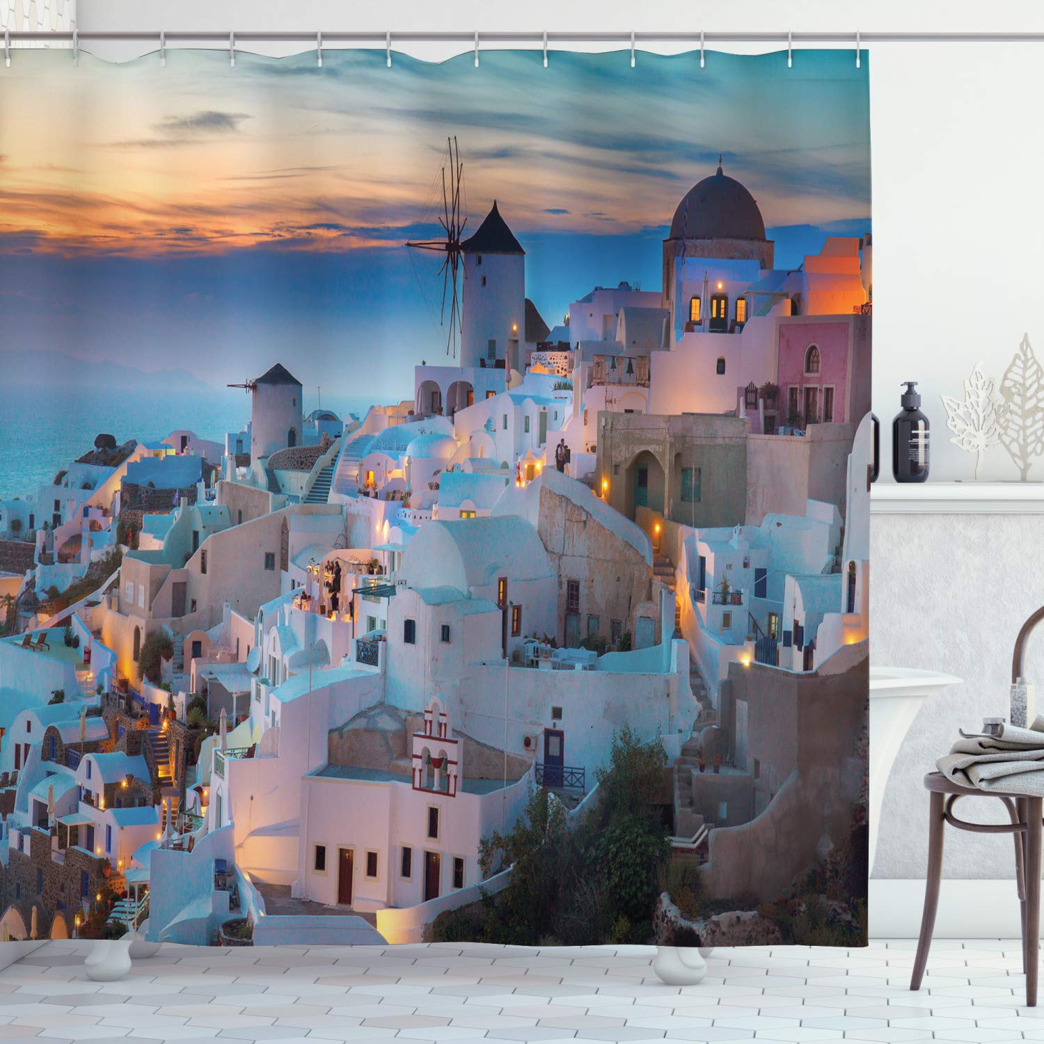 """Ambesonne Landscape Shower Curtain, Touristic Houses Traditional Architecture Composition at Sunset by The Ocean, Cloth Fabric Bathroom Decor Set with Hooks, 70"""" Long, White Orange"""