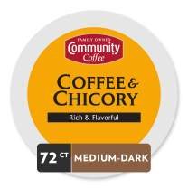 Community Coffee - Coffee & Chicory Medium-Dark Roast - 72 Count Single Serve Coffee Pods - Compatible with Keurig 2.0 K Cup Brewers