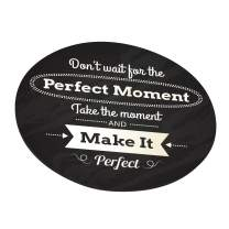 Don't Wait for Perfect Moment Mouse Pad, Inspirational Motivational Goal Quote Round Ergonomic Mouse Pad Non-Slip Rubber Material for Office Desk Gaming Home Space Decor - 220mm Diameter