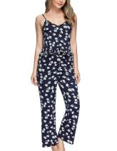 Zexxxy Camisole Pajama Set for Women Floral 2 Pcs Cute Sleepwear with Pants