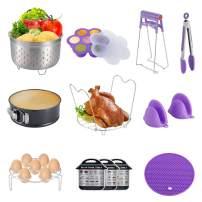WarmHut 13PCS Electric Pressure Cooker Accessories, Compatible with 5/6/8QT Instant Pot - Steamer Basket, Springform Pan, Egg Bite Mold, Steamer Rack, Kitchen Tong, Dish Plate Clip