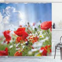 "Ambesonne Country Shower Curtain, Idyllic Spring Meadow with Poppy and Daisy Flowers Sunny Sky Clouds Garden Design, Cloth Fabric Bathroom Decor Set with Hooks, 84"" Long Extra, Blue Red"