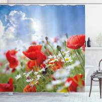 """Ambesonne Country Shower Curtain, Idyllic Spring Meadow with Poppy and Daisy Flowers Sunny Sky Clouds Garden Design, Cloth Fabric Bathroom Decor Set with Hooks, 84"""" Long Extra, Blue Red"""