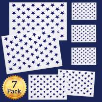 Whaline 7 Pieces American Flag 50 Stars Stencil Template for Painting on Wood, Fabric, Paper, Airbrush, Walls Art, 2 Large, 2 Medium and 3 Small for Flag Day, Independence Day