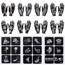 8 Pack Henna Tattoo Stencil Templates, HNYYZL 3 Sheets Temporary Tattoos Stencils Indian Arabian Self Adhesive Tattoo Sticke, 26 Styles Tattoo Patterns, for Hand Body Face Paint
