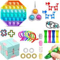 Komoo Fidget Pack Cheap Toys Set Simple Dimple Figetget Toys Infinite Cube Stress Ball and Anti-Anxiety Toys Kill Time (C)