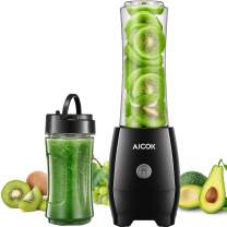 Aicok Personal Blender for Shakes and Smoothies with 2 BPA Free Portable Travel Cups and Spout Lids, 300W Smoothies Blenders for Milkshake, Fruit Vegetables Drinks and Baby Food