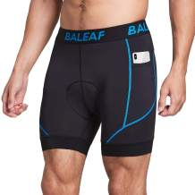 BALEAF Men's Cycling Underwear Shorts 4D Padded Pockets Bicycle Biking Mountain Bike Liner Shorts