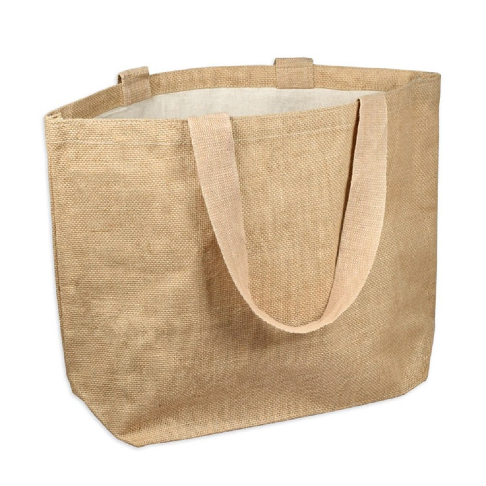 "Jute Burlap Beach Tote Bags Eco-Friendly Shopping Totes w/Cotton Lining (6, Medium (20"" x 14"" x 6""))"