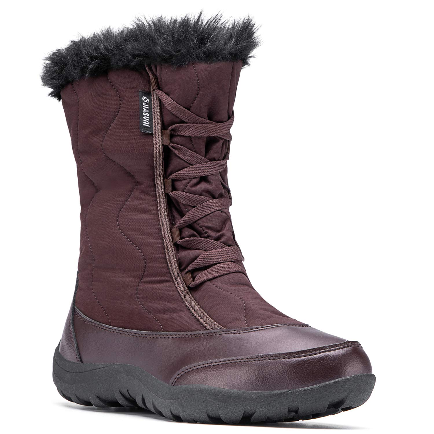 Leisfit Womens Mid Claf Outdoor Warm Winter Boots Casual Warm Fur Shoes for Woman Girl Brown 9.5