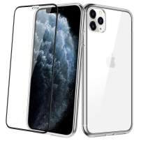 Aemotoy Case for iPhone 11 Pro Max Slim Crystal Clear Cover with Screen Protector Full Body Shockproof Scratch Resistance Tempered Glass Cover Hard Shell TPU Case for 2019 iPhone 11 Pro Max, Clear