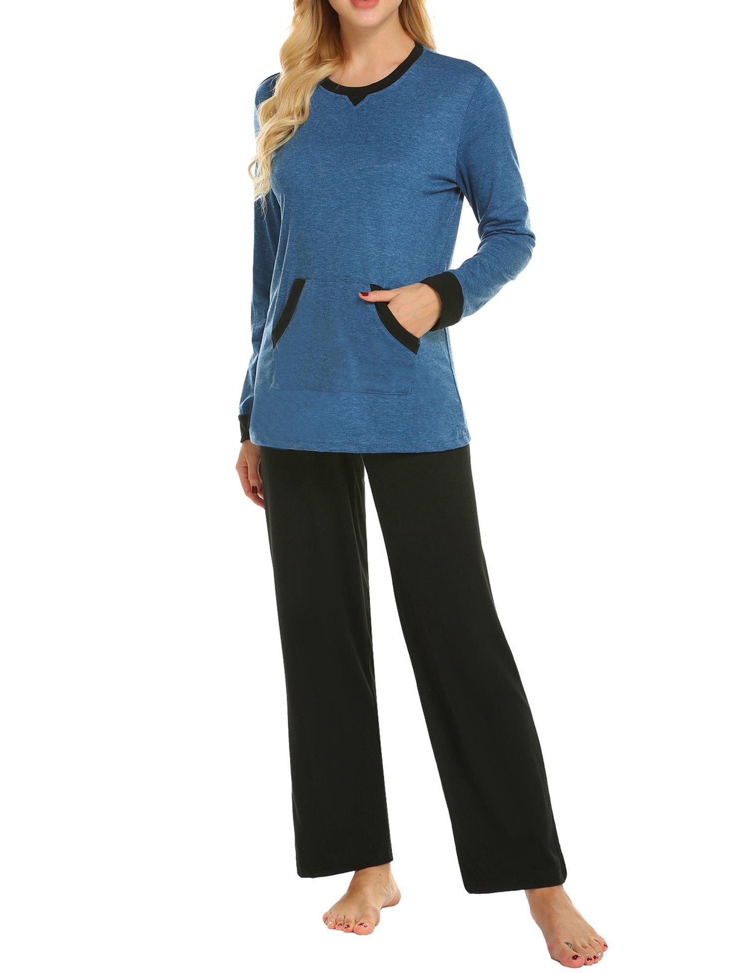 MAXMODA Pajama Set Women's Long Sleeve Pocket Sleepwear Soft Pj Set Loungewear S-XXL
