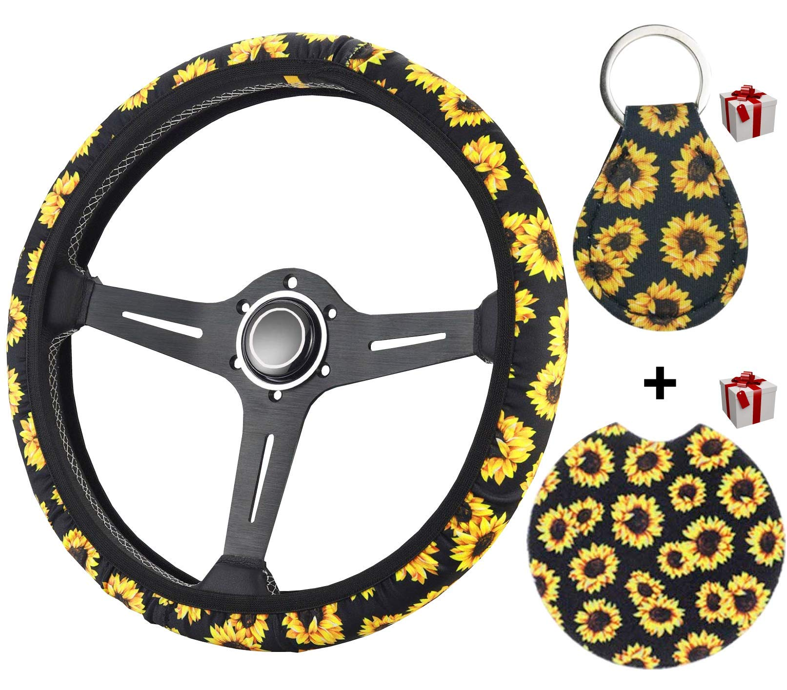 2 Pieces Sunflowers Keyrings 2 Pieces Car Cup Holder Coaster and 4 Pieces Car Vent Clips for Car Decoration 10 Pieces Sunflower Car Accessories Set Includes 2 Pieces Steering Wheel Cover