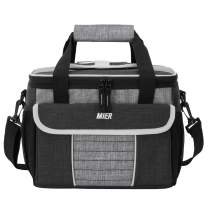 MIER Large Soft Cooler Bag Insulated Lunch Box Bag Picnic Cooler Tote with Dispensing Lid, Multiple Pockets, 24 Can(black and grey)