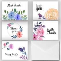 Small Floral Elegant Thank You Note Cards 25 Pack - Envelopes Included - Great for Bridal Showers, Weddings, Graduations, Baby Showers, and More! Made in the U.S.A. (Elegant Assortment)