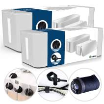 Cable Management Box Organizer Set, Pack of 2 with Configuration Kit, Updated Anti-Skid Design, Large and Medium White Boxes with Cable Ties, Clips and Sleeve. Covers and Hides Cords/Wires/Power Strip