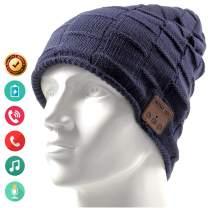Bluetooth Hat Beanie Wireless Earbuds Headset Headphones Music Audio Women Men Boys Girls Winter Cap with Speaker Mic Hands Free Outdoor Sport Stereo Earphone Earpieces (Blue)