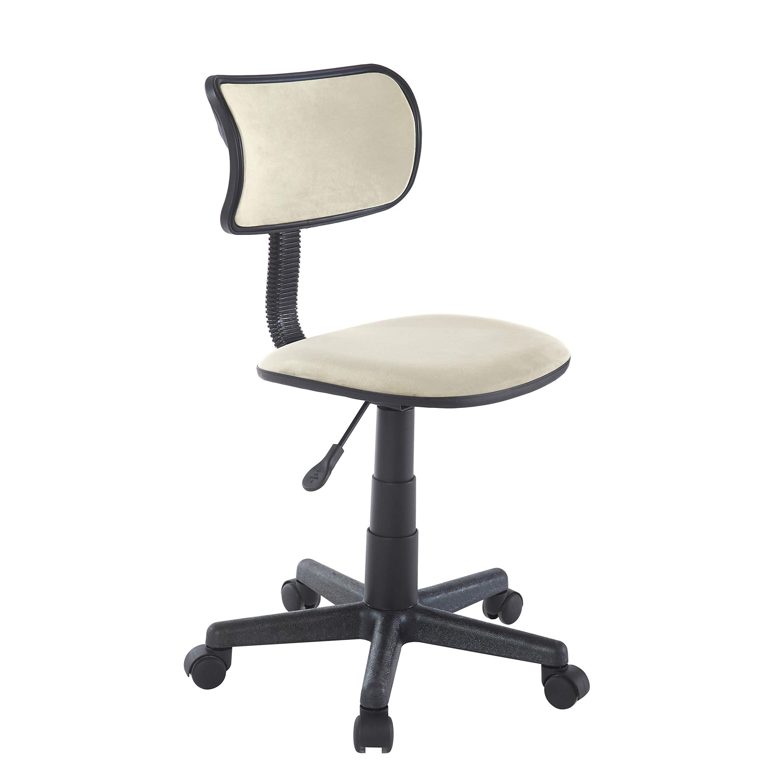 Urban Shop Crushed Velvet Swivel Task Chair, Ivory