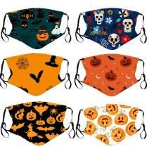 6pcs Kids Reusable Facial Covering Pumpkin Adjustable M.ask for Kids Ages 3-12