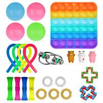 Ma.Lina.Ann Fidget Toys Set, Sensory Toys Pack Cheap for Kids Adults, Simple Dimple Figetget Toys, Stress Relief and Anti-Anxiety Tools, Fidgeting Game Kill Time (24 Pack Square)