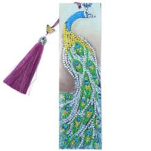 Umbresen Leather Bookmark DIY 5D Special Shaped Diamond Painting by Number Kits,Beaded Tassel Book Marks Art Craft Mosaic Making Gifts for Christmas, Thanksgiving, New Year, Birthday (Peacock 2)