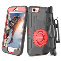 BENTOBEN New iPhone SE2 2020 Case, iPhone 8 Case, iPhone 7 Case, Heavy Duty Full Body Rugged Rotating Kickstand Ring Belt Clip Holster Hybrid Shockproof Protective Cover for iPhone SE2/8/7,Black/Red
