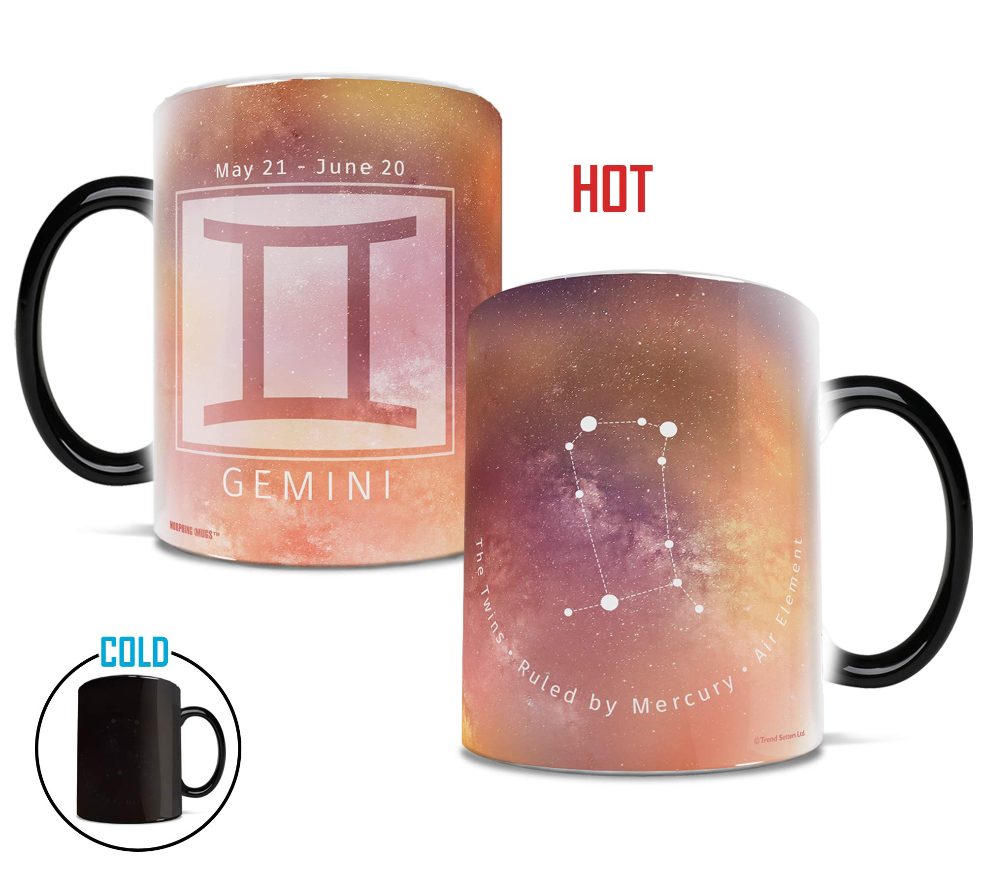 Birthday Zodiac Sign - Gemini - Morphing Mugs Heat Sensitive Mug – Image revealed when HOT liquid is added - One 11oz Ceramic Mug