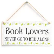 "Meijiafei Book Lovers Never Go to Bed Alone - Beautiful Reading Gift Home Accessory Novelty Gift Sign 10""x5"""
