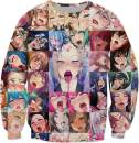 Cosplay Life Ahegao 3D Print Design Crew Neck T-Shirt Pullover Hoodie and Sweatshirt