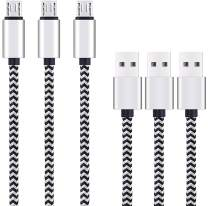 Micro USB Cable 10ft 3Pack by Ailun,High Speed 2.0 USB A Male to Micro USB,Sync Charging Nylon Braided Cable for Android Phone Charger Cable Tablets Wall and Car Charger Connection Silver&Blackwhite