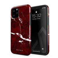 BURGA Phone Case Compatible with iPhone 11 PRO - Iconic Ruby Red Marble Cute Case for Women Heavy Duty Shockproof Dual Layer Hard Shell + Silicone Protective Cover