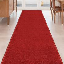 RED Solid Plain Rubber Backed Non-Slip Hallway Stair Kitchen Runner Rug Carpet 31in X 4ft