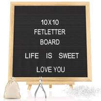 KOOV Felt Letter Board with Letters - 10x10 Inches Rustic Wood Frame Precut White Letters, Script Cursive Words, Wood Stand Wall & Tabletop Display Decor (10 x 10 Inches)