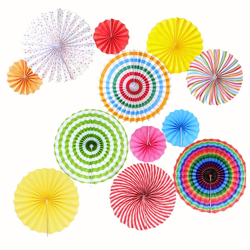 12pcs Paper Fan Decorations - Hanging Tissue fans - Colorful Fiesta Mexican Paper Fans for Birthday Baby Shower Wedding Hawaii Party Decorations