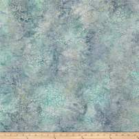 RJR Fashion Fabrics Malam Batiks Packed Petals Light Gray/Teal Fabric By The Yard
