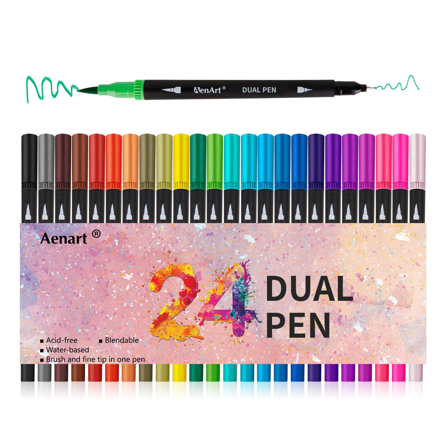 Dual Tip Art Marker Pens Fine Point Journal Pens & Colored Brush Markers for Kid Adult Coloring Books Drawing Planner Calendar Art Projects (24 Colors)