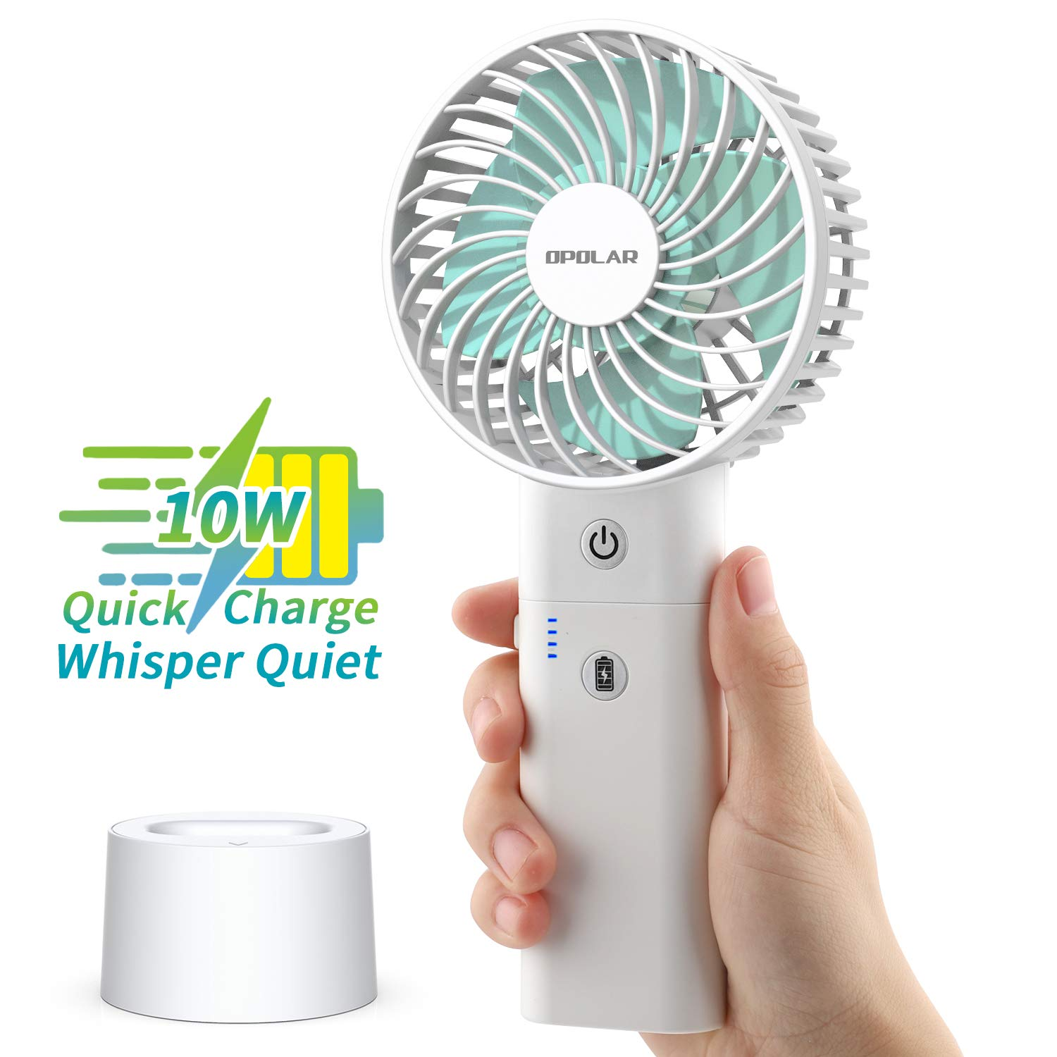 OPOLAR Battery Operated Handheld Personal Fan with Base, 10W Quick Charge Small Portable Fan with 5000mAh Battery, 5-18H Work Time, Strong Airflow,3 Speed Quiet Fan for Tropical Countries Travel