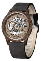 IK Men's Wooden Watches, Automatic Mechanical Wooden Case Wrist Watch,Casual Skeleton Lumious Lightweight Wrist-Watch Genuine Leather Bracelet/Wood Band