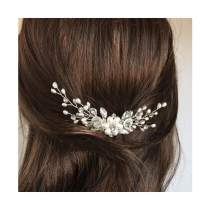 Campsis Bridal Wedding Hair Comb Silver Sparkly Rhinestones Side Combs Crystals Pearls Flower Bride Hairpieces Gorgeous Hair Accessories for Women and Girls (Silver)