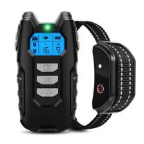Flittor Dog Training Collar, Shock Collar for Dogs with Remote, Rechargeable Dog Shock Collar, 3 Modes Beep Vibration and Shock Waterproof Bark Collar for Small, Medium, Large Dogs