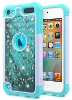 iPod Touch 7 Case, iPod Touch 5/6 Case for Girls, NageBee Glitter Diamond Hybrid Protective Studded Rhinestone Armor Cover Sparkle Cute Shockproof Case for iPod Touch 7th/6th/5th Generation -Plum