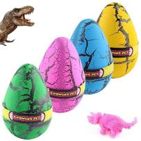 YKLWORLD Hatching Growing Dinosaur Toys, Magic 4 Pack Large Size Grow Dinosaurs Egg That Hatch in Water Easter Dino Eggs Party Favor Gifts for Kids