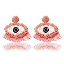 Devil Eye Tassel Earrings Bohemian Bead Handmade Drop Dangle Statement Earrings for Women Girls