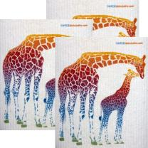 Colorful Giraffe Set of 3 Each Swedish Dishcloths | ECO Friendly Absorbent Cleaning Cloth | Reusable Cleaning Wipes