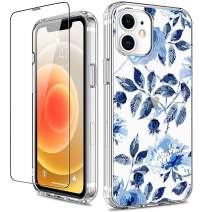 GiiKa for iPhone 12 Case, iPhone 12 Pro Case with Screen Protector, Clear Full Body Protective Floral Girls Women Shockproof Hard Case with TPU Bumper Cover Phone Case for iPhone 12, Blue Flowers