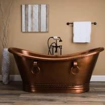 Vintage Tub & Bath Hadley 71 Inch Copper Freestanding Double Slipper Bathtub - Medium Copper
