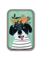 Studio Oh! Medium Metal Catchall Tray Available in 12 Different Designs, Mia Charro Fancy Flower Dog