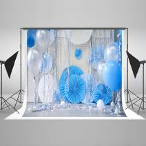 7ft(W) x5ft(H) Blue Birthday Photography Background Circle Fan withs Balloon Baby Shower Backdrops for Kids Newborns Photography Props Seamless Free Wrinkles